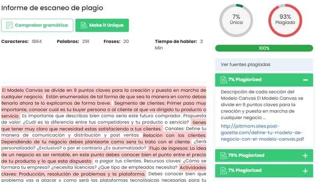 web para detectar plagio