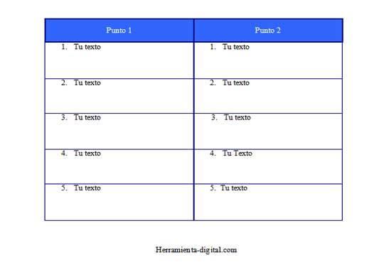 Descargar plantillas de cuadros comparativos en word